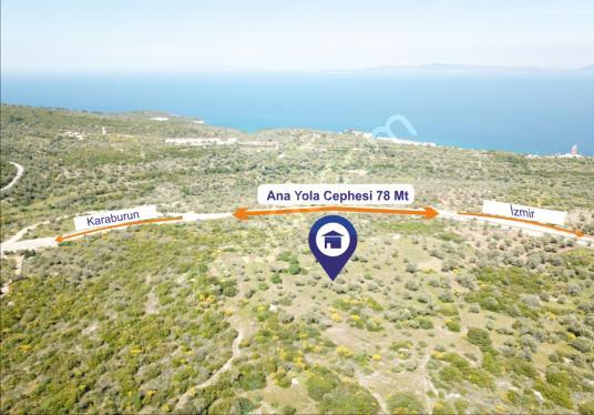 İzmir Karaburun da Yeni Yola Cepheli Tarla