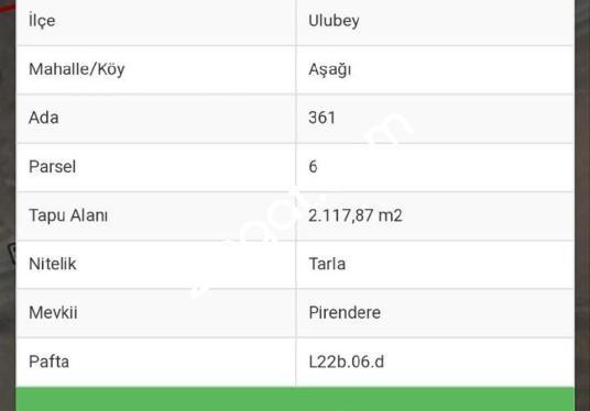 UŞAK ULUBEY ILCESI SEHIR MERINE 800m Olan Tarlamiz 2.117,80M - Logo