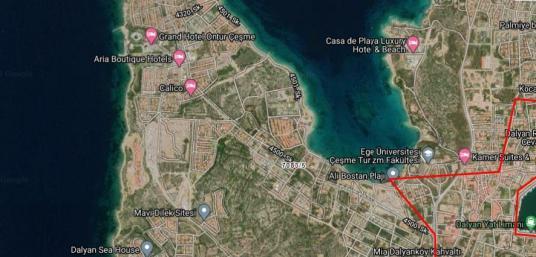 Çeşme dalyanda denize yakın tek villa imarlı satılık arsa - Harita