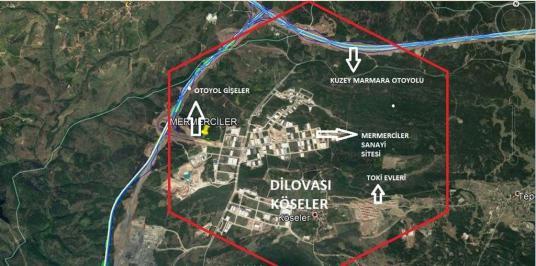 DİLOVASI KÖSELER 8.400 M² TİCARİ + KONUT ARAZİSİ BURADA - Harita