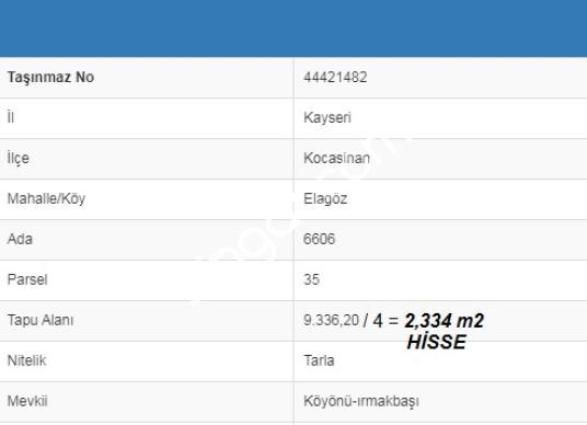 ÇEVRE YOLU ÜZERİ / 2330m2 / YATIRIMLIK / HİSSELİ TAPU