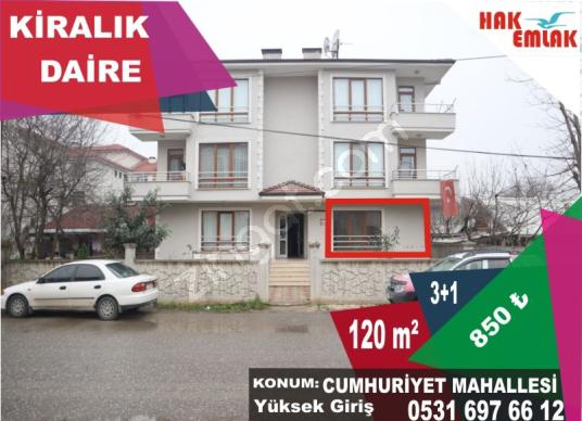 Hak Emlak'tan Cumhuriyet Mah.'de Kiralık 3+1 120 m2 Daire