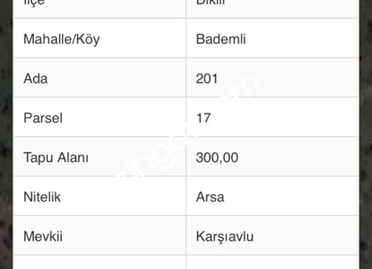 DİKİLİ BADEMLİ KARŞI AVLU 300 m2 ARSA SATILIKTIR - Kat Planı