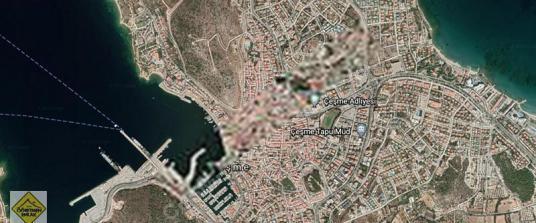 Çeşme Merkez de Otel - Pansiyon 1000m2 İnşaat İzni Olan Arsa
