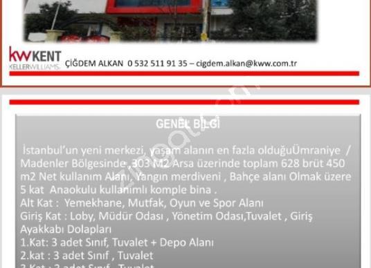 SATILIK KOMPLE BİNA - Kat Planı