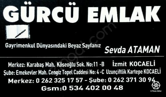 KARTEPE UZUNTARLADA GÖL MANZARALI 250M² ARAZİ 109.000 TL - Logo
