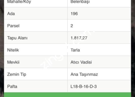 BELENBAŞINDA SATILIK 2B ARAZİSİ - Kat Planı