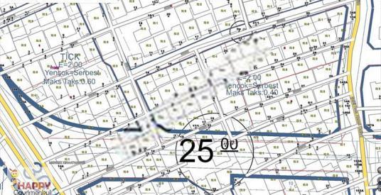 200 m2 2,4 yoğlk. blv. üstü arsayı al 3 tane 3+1 daireniz olsun. - Harita