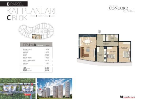 Concord İstanbul'da Hayatın Merkezinde yatırım fırsatlı 2+1 - Kat Planı